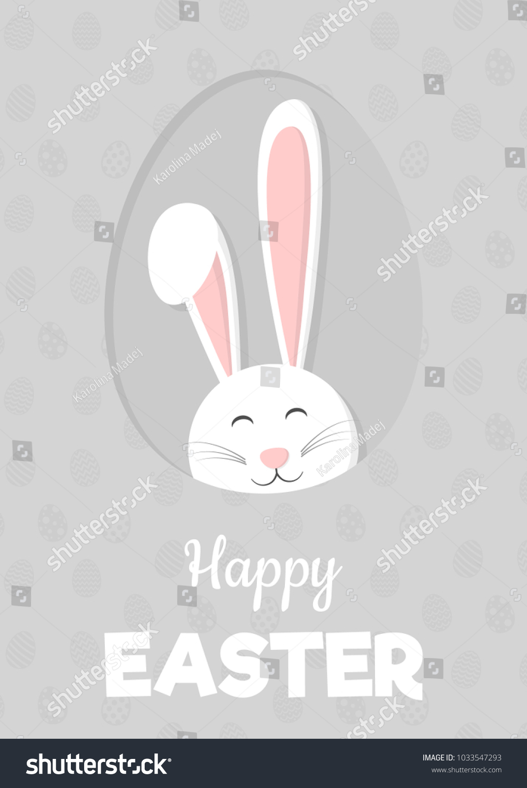 Easter - template of a poster with bunny ears. Vector. | EZ Canvas