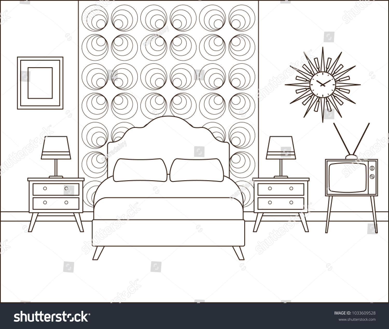 Bedroom Interior Hotel Retro Room Bed Stock Vector Royalty Free