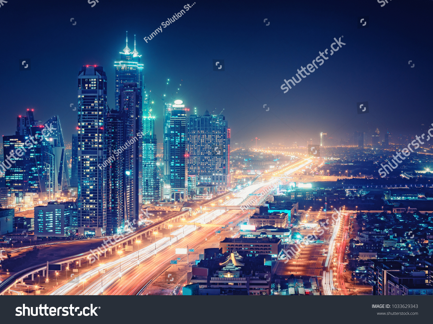 Spectacular nighttime skyline of a big modern city at night