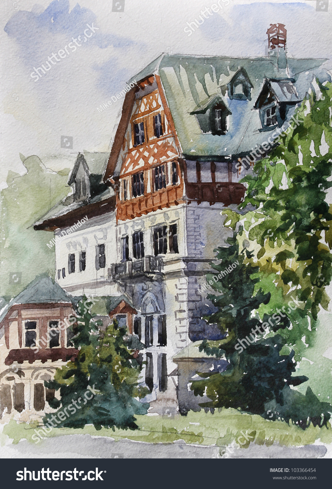 Hand Drawing Of Old Mansion With Chestnut Tree In Watercolor Style Historical Center Karlovy