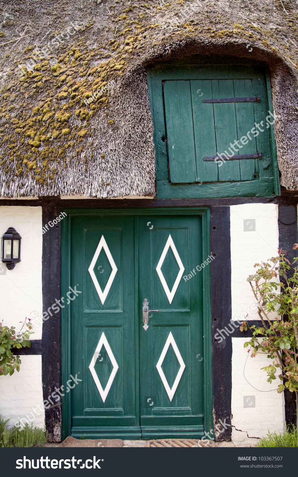 house with thatched roof in the village of sieseby schleswig holstein germany stock photo. Black Bedroom Furniture Sets. Home Design Ideas