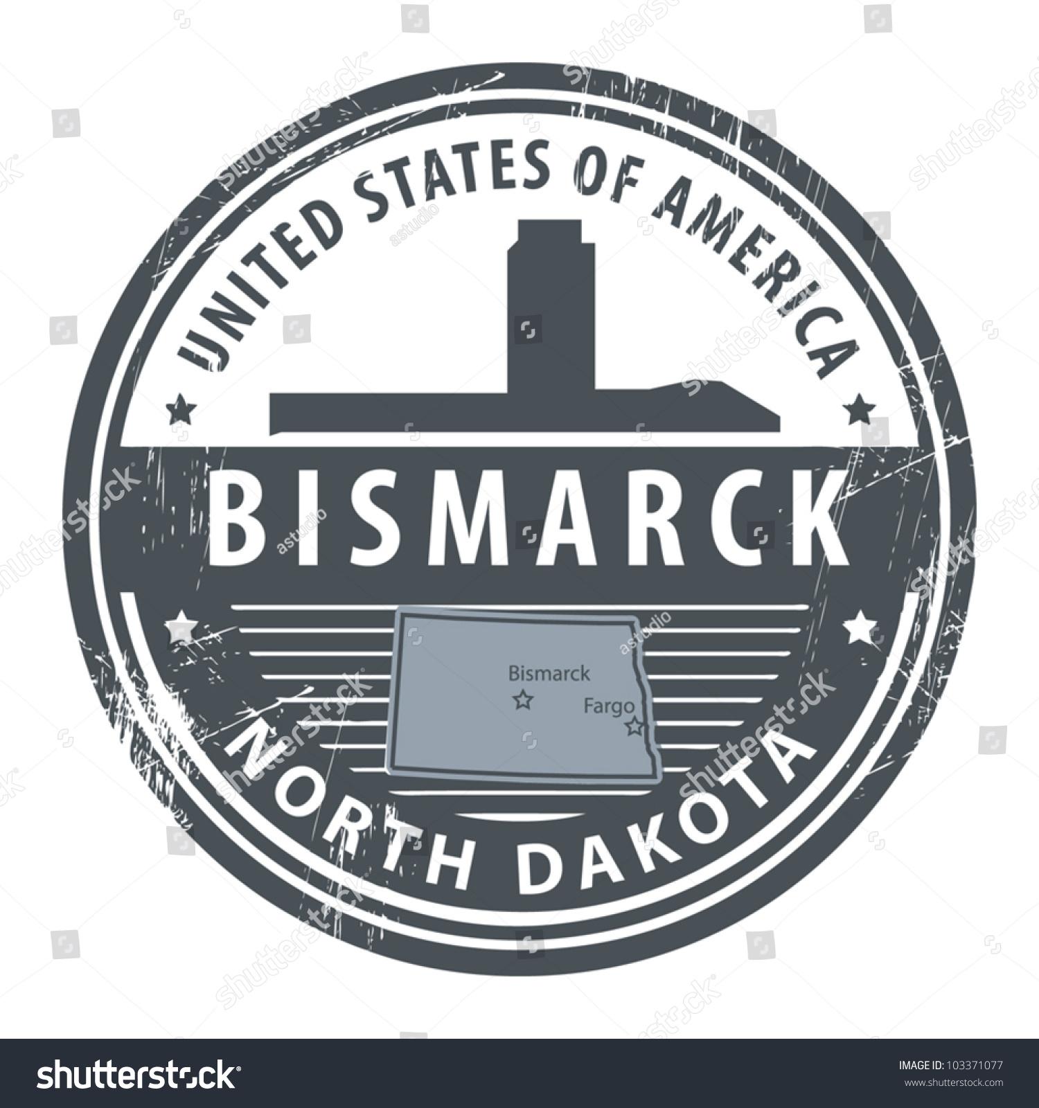 Grunge Rubber Stamp With Name Of North Dakota Bismarck Vector Illustration