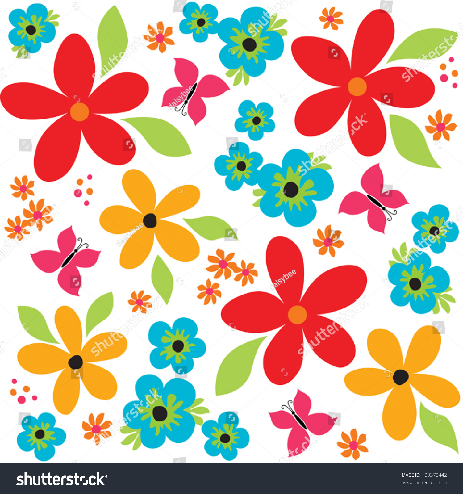 How to scrapbook good - Vector Seamless Vintage Background Pattern With Bright Flowers And Butterflies Good For Scrapbook Greeting