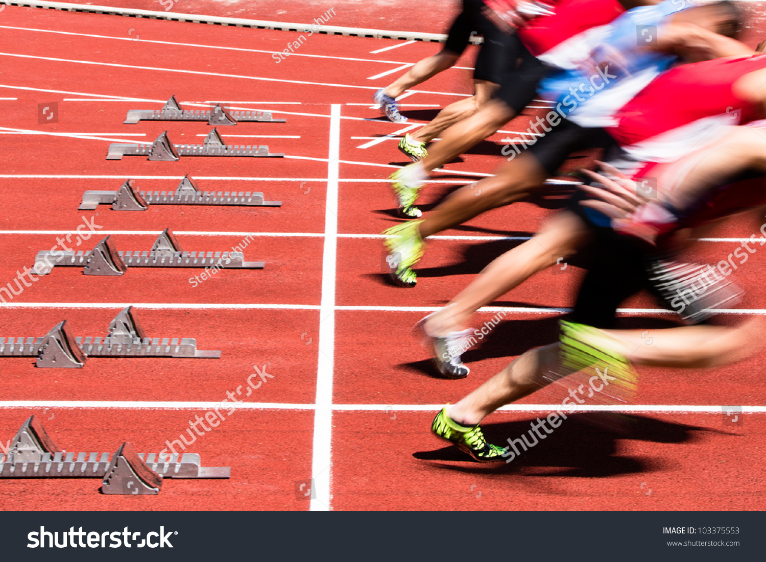 sprint start in track and field in blurred motion