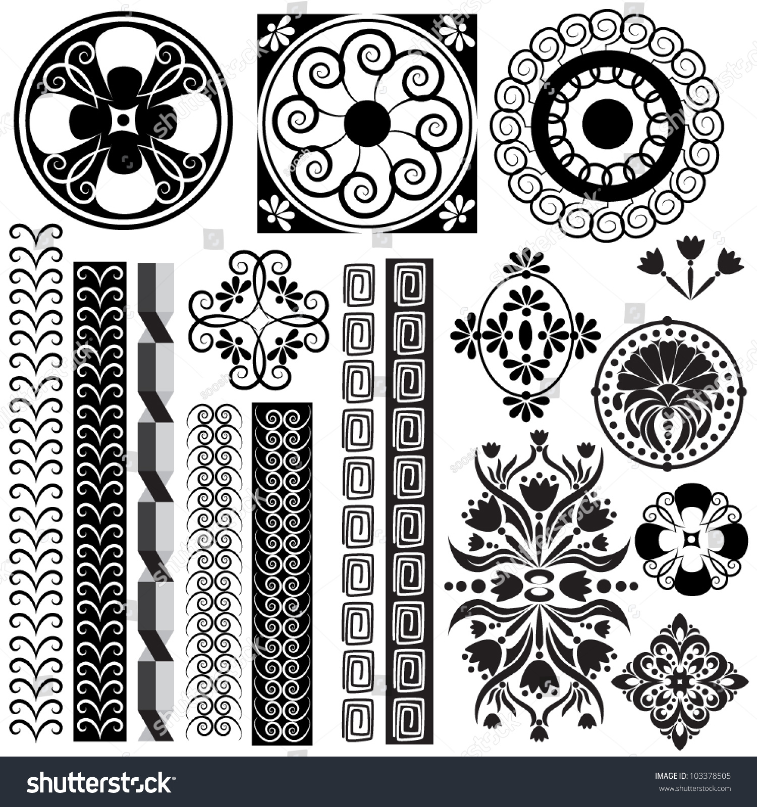 Black and white ornaments - Vector Set Of Illustrations With Symbols And Ornaments In Black And White