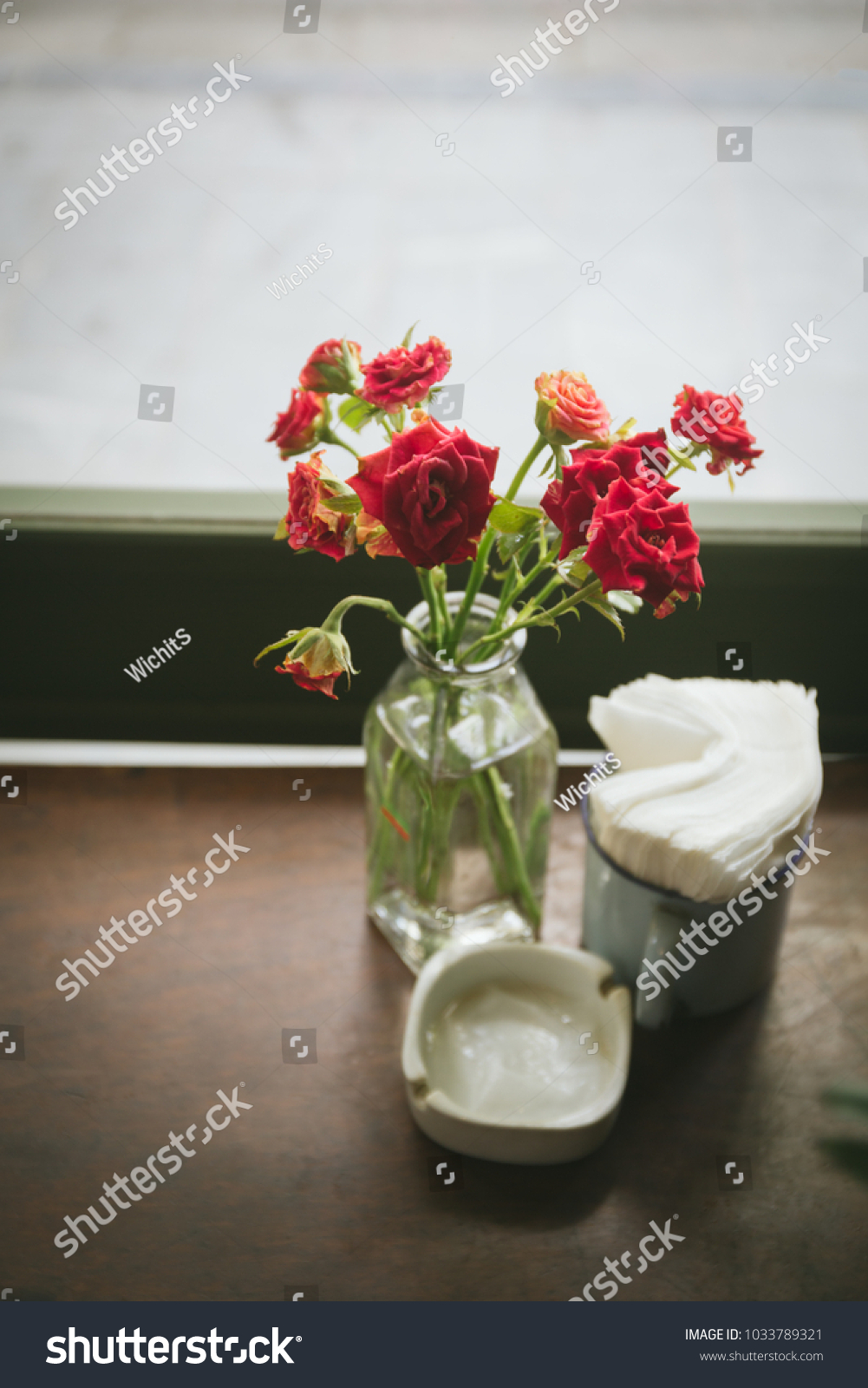 Red Roses Glass Bottle Tissue Paper Stock Photo Edit Now