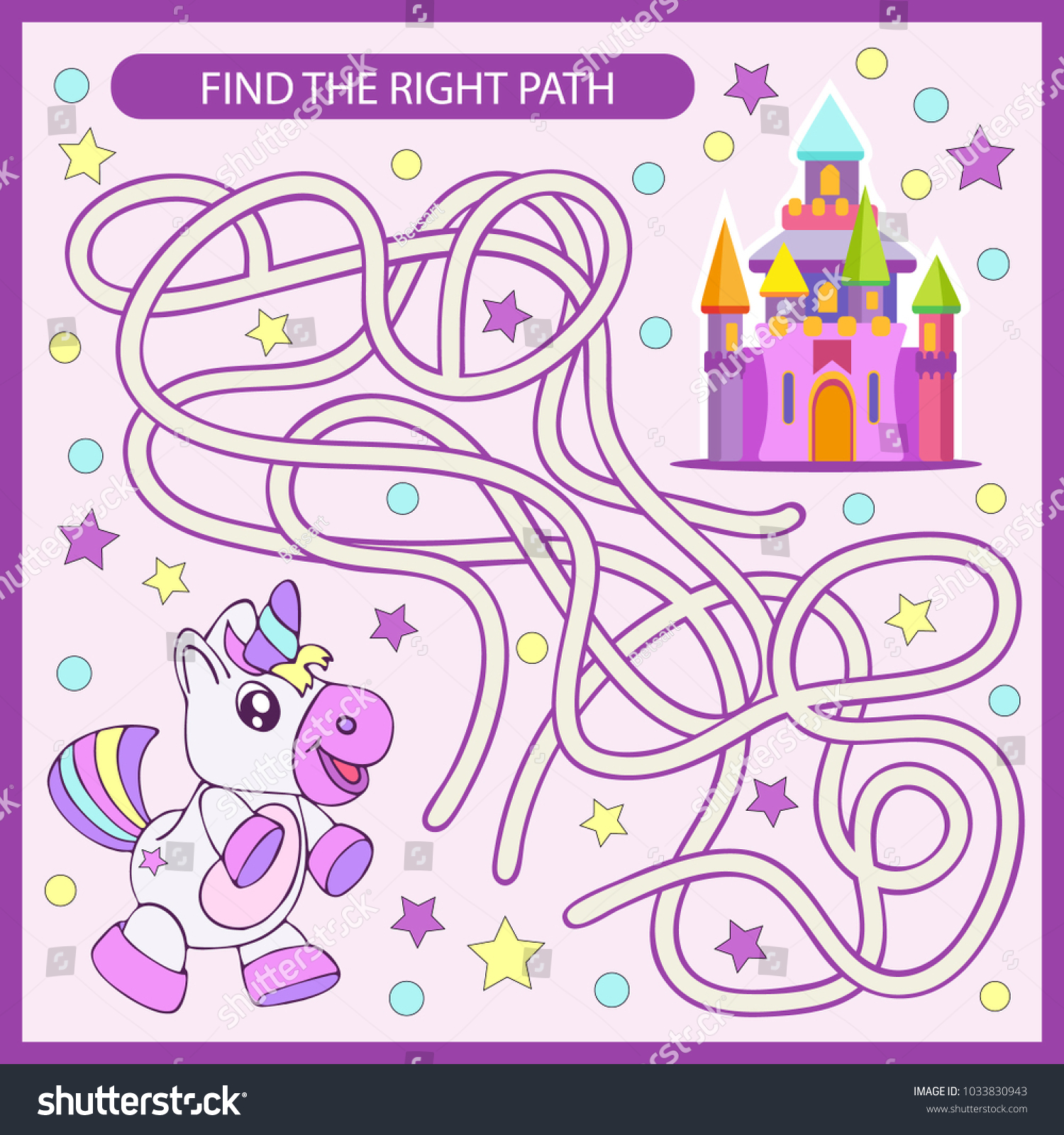 Find Right Path Maze Unicorn Castle Stock Vector (Royalty Free ...