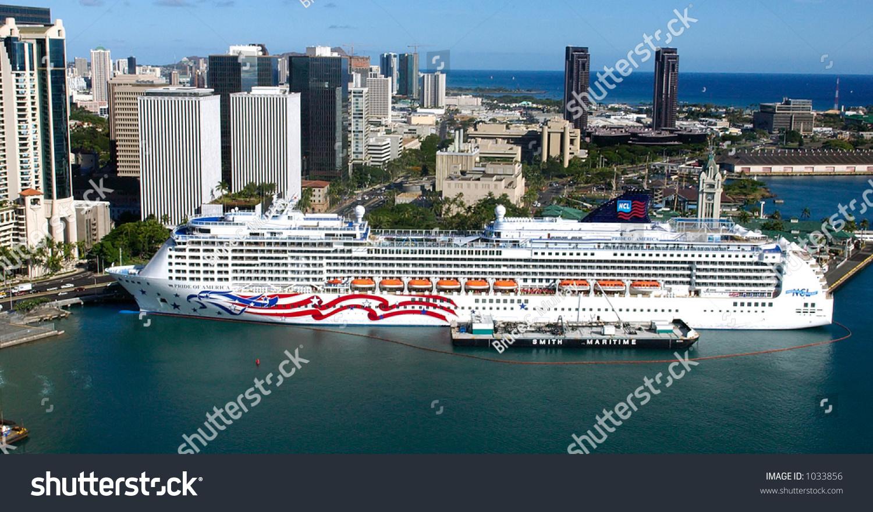 Pride America Cruise Ship Honolulu Harbor Stock Photo