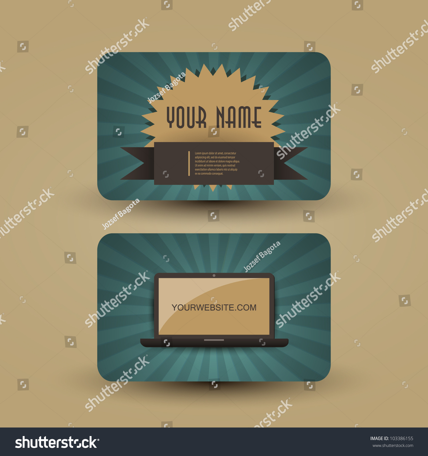 Retro Business Card Template Stock Photo (Photo, Vector ...