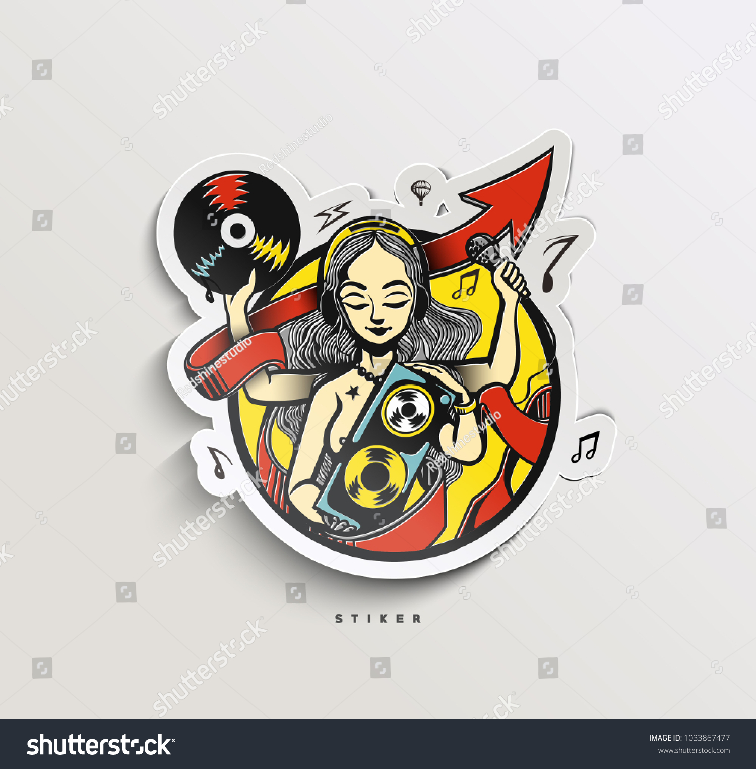 Music paper cut tags labels peel off sticker vector illustration