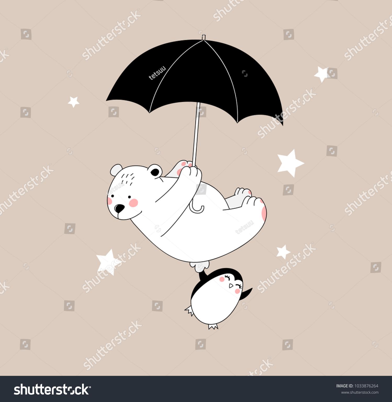 幸せなかわいい白い熊と小さなペンギンが傘を持って飛んでいる 子ども