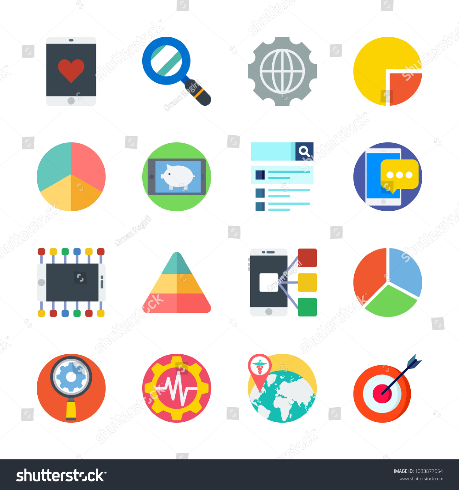 Icon marketing pie chart settings target stock vector 1033877554 icon marketing with pie chart settings target worldwide and pyramid nvjuhfo Image collections
