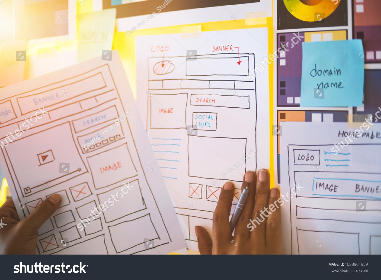 Web Designer Drawing Develop Planning Creativity Stock Photo (Edit