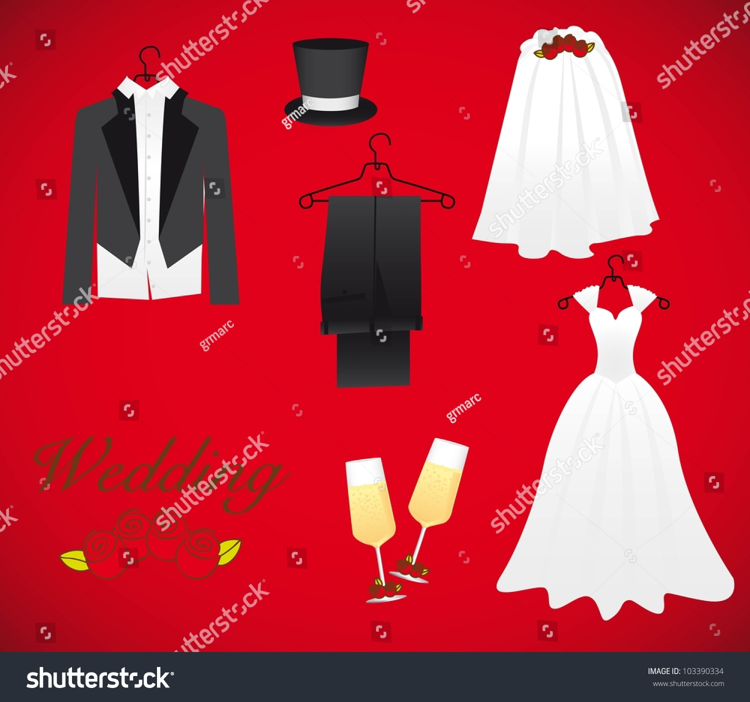 Objects Marriage Including Wedding Dress Groom Stock Vector (Royalty ...