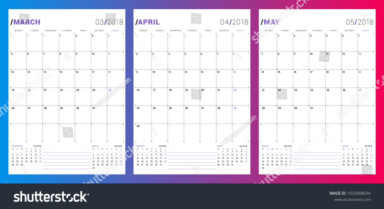 afe7210ff246 Calendar Planner Template Spring 2018 March Stock Vector (Royalty ...