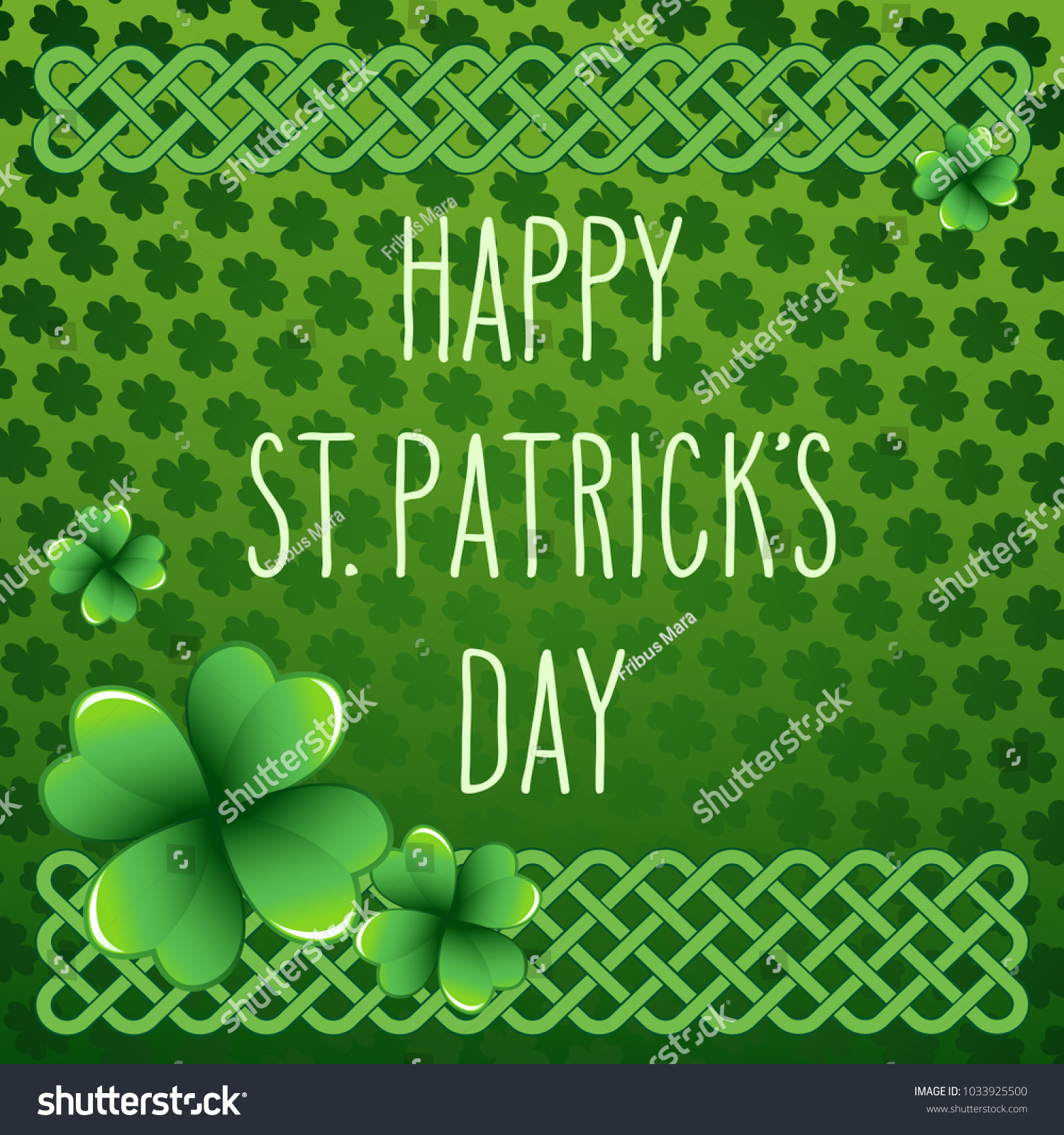 Hand Drawn St Patricks Day Greetings Stock Vector 1033925500
