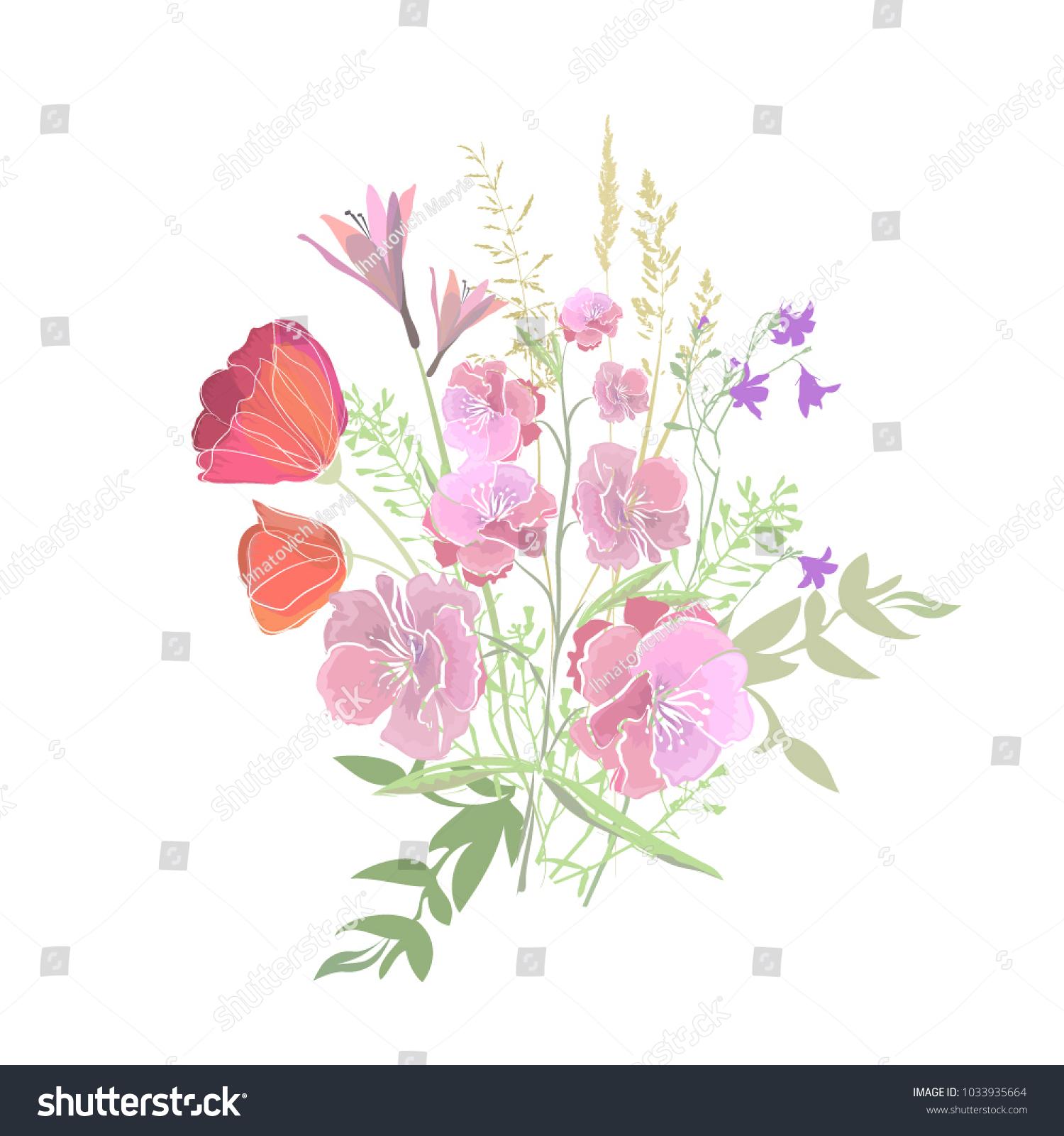 Bouquet Of Beautiful Flowers Vector Ez Canvas