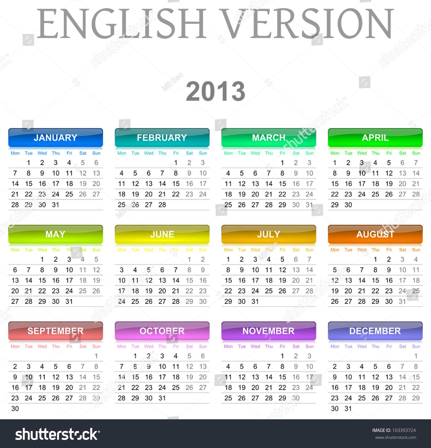 Calendar Illustration Search : Colorful monday to sunday calendar english version