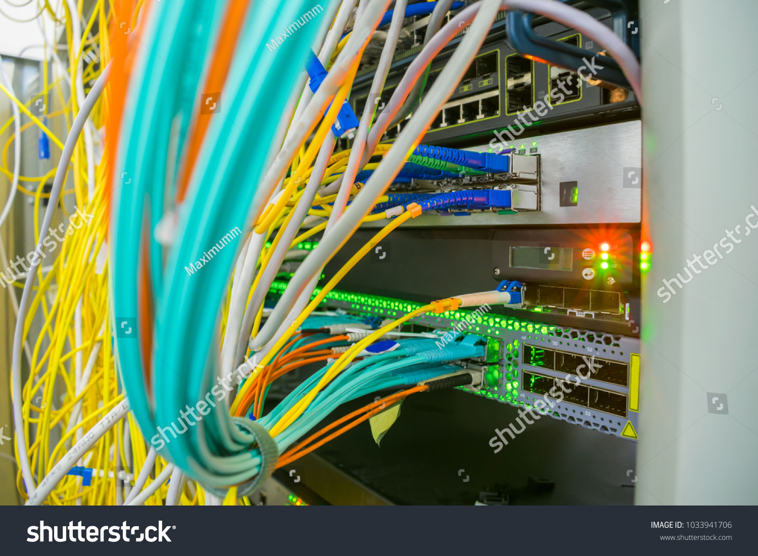 Messy Plex Wires Server Rack Data Stock Photo Edit Now 1033941706 Central Wiring Panel Of In The Center High Speed