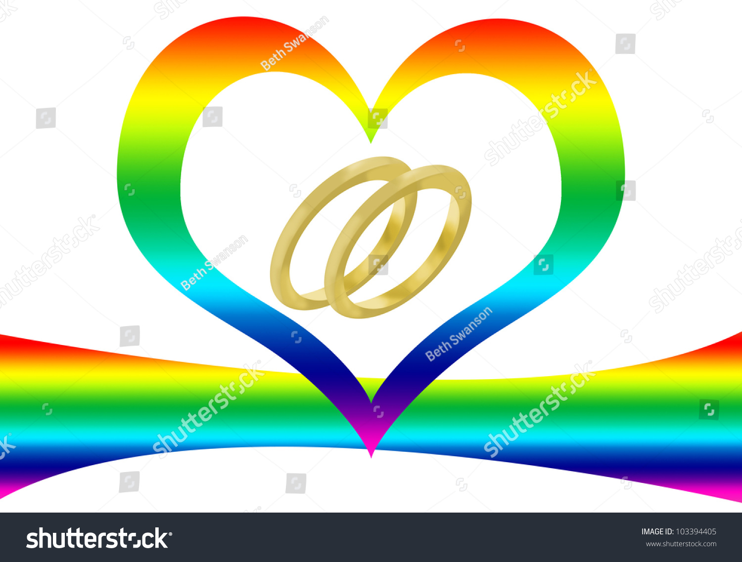 Two Wedding Rings Rainbow Heart Represent Stock Illustration