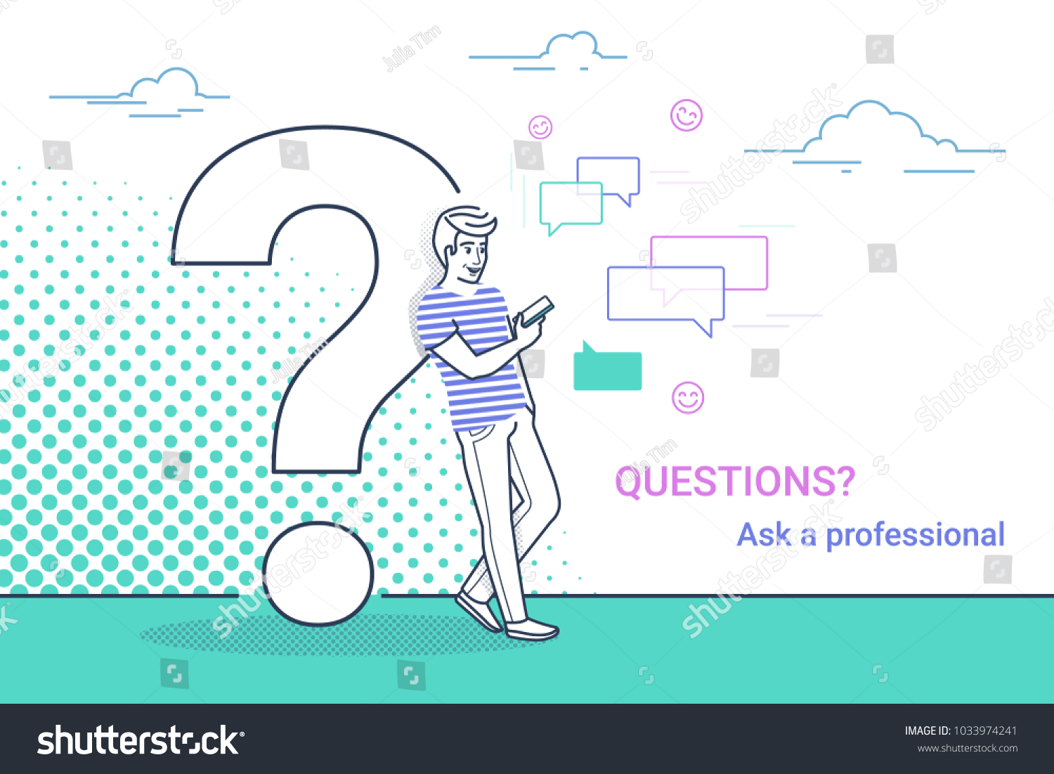 Young man standing near big question stock vector 1033974241 young man standing near big question symbol and using smartphone for texting to live chat buycottarizona