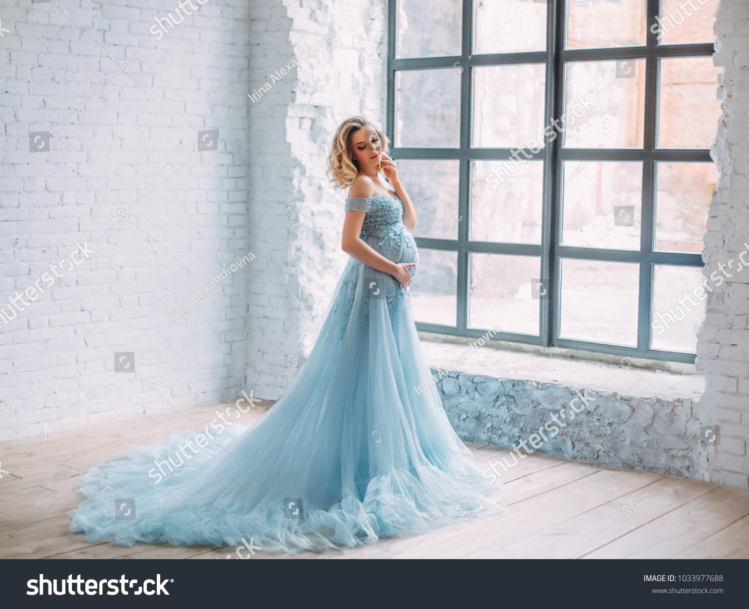 Young Pregnant Woman Posing Luxurious Lush Stock Photo (Safe to Use ...