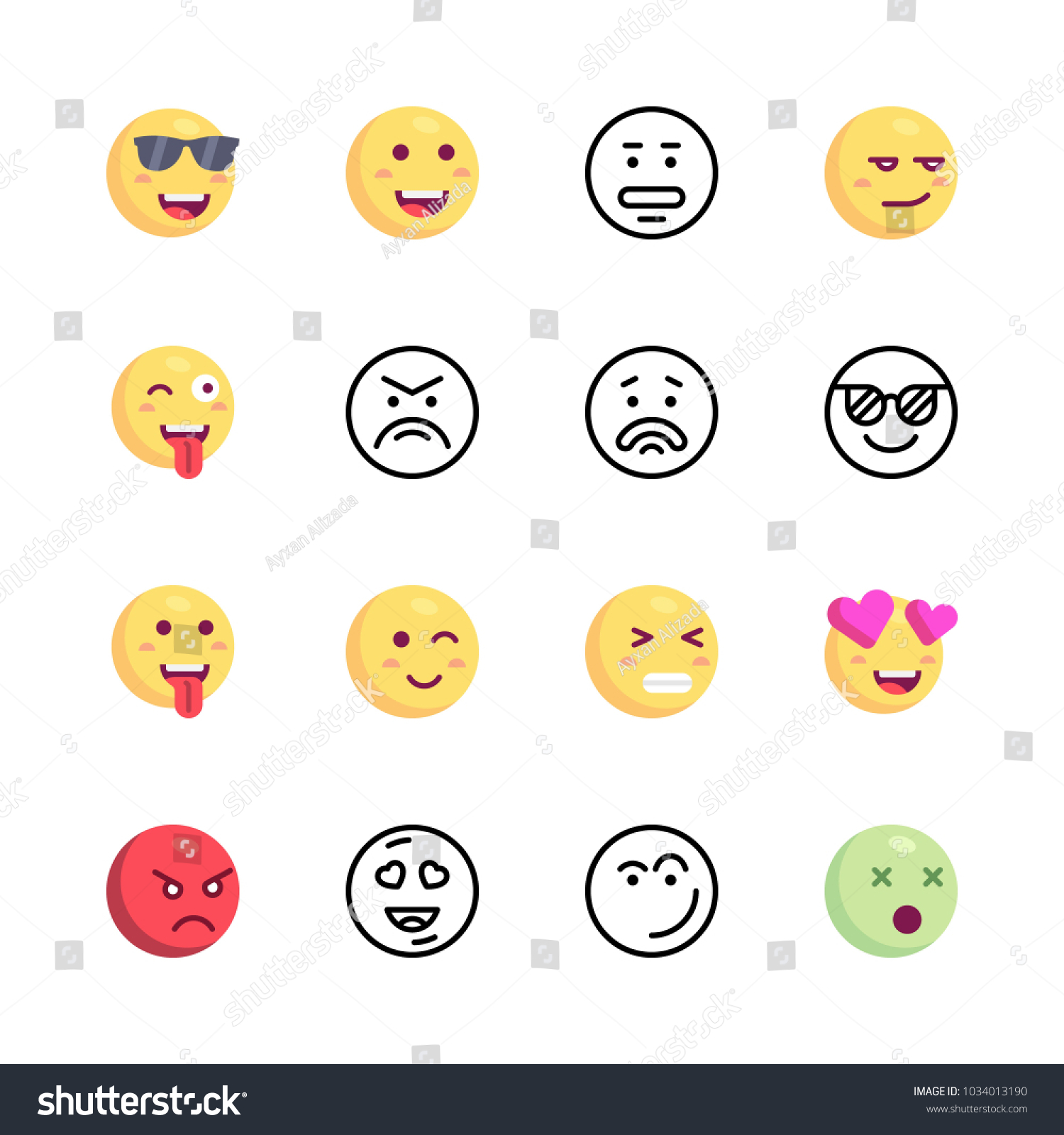 Icons emoji vector happy emoji cool stock vector 1034013190 icons emoji vector happy emoji cool emoji and angry biocorpaavc Images