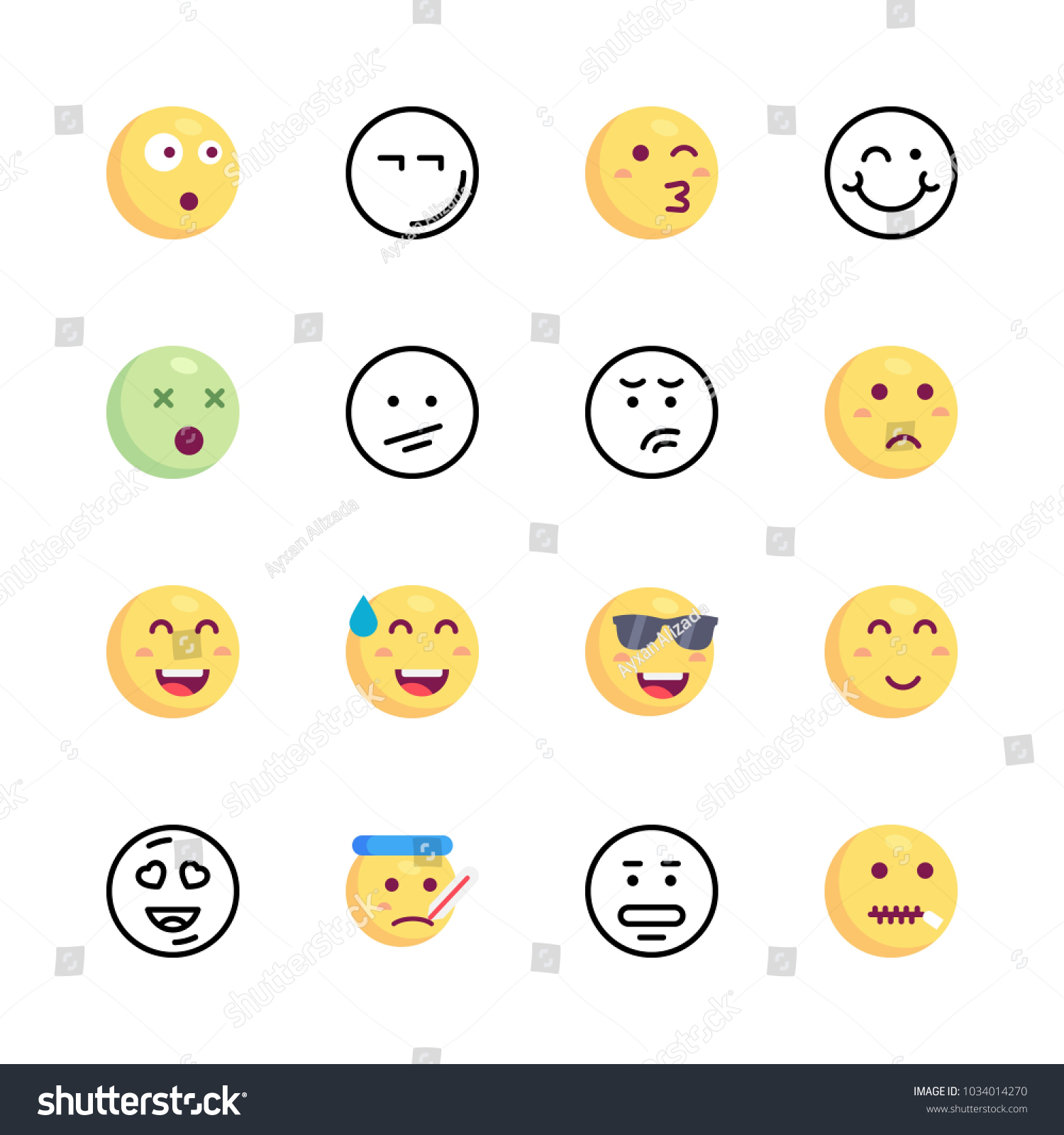Icons emoji vector happy emoji cool stock vector 1034014270 icons emoji vector happy emoji cool emoji and kiss emoji biocorpaavc Images