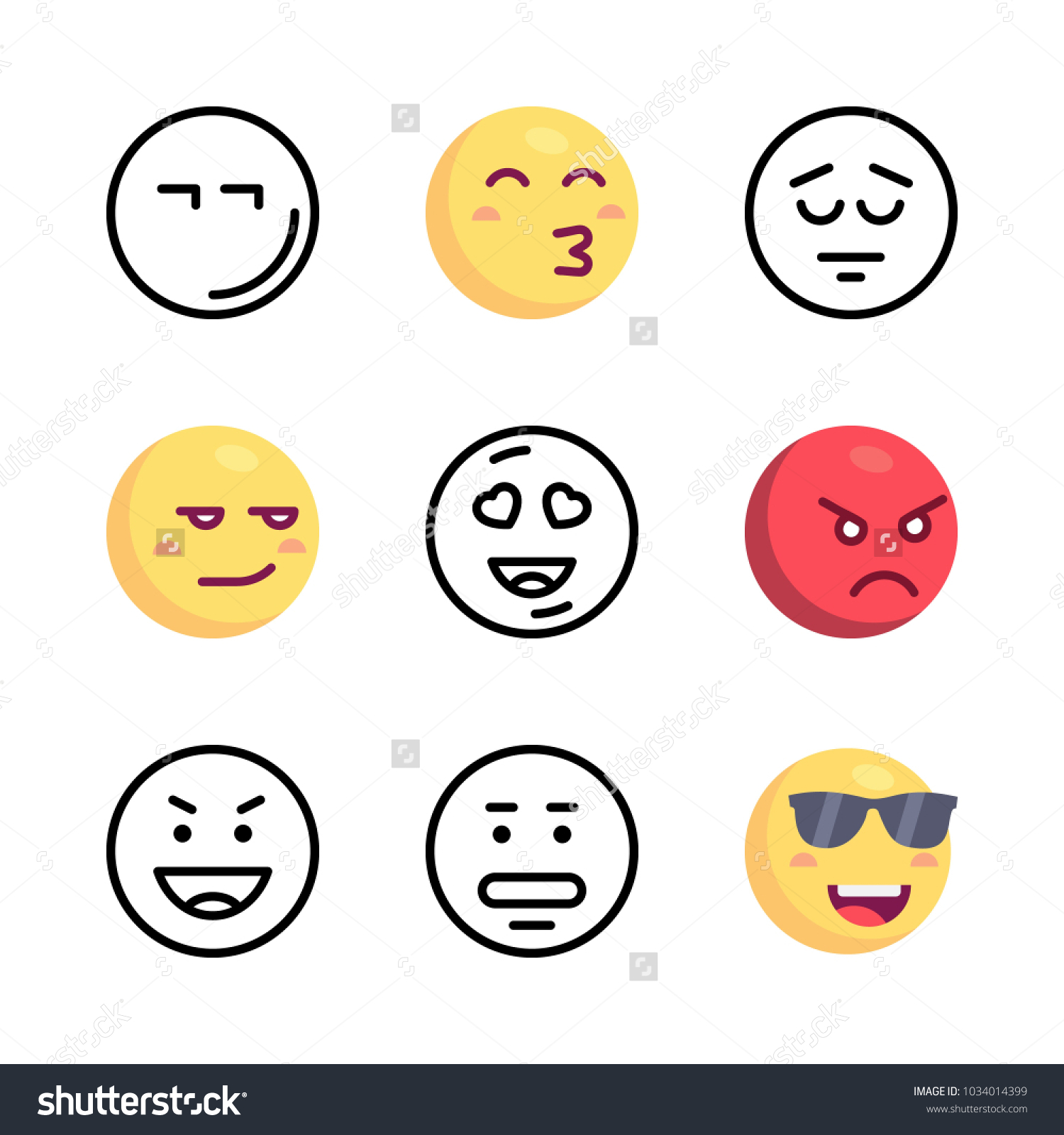 Icons emoji vector cool emoji kiss stock vector 1034014399 icons emoji vector cool emoji kiss emoji and angry biocorpaavc Images