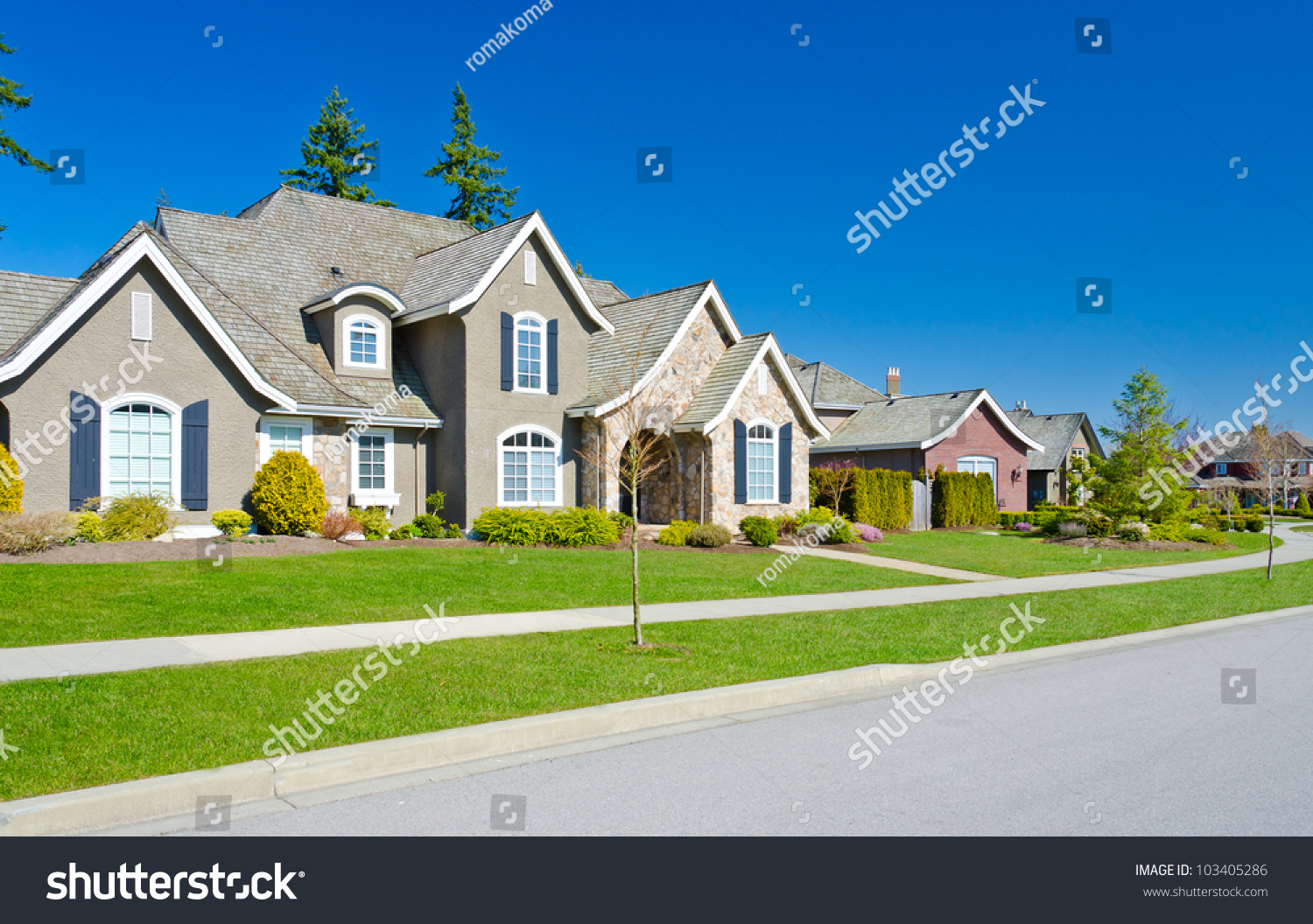 Great neighborhood empty street homes suburbs stock photo for Home builders in canada