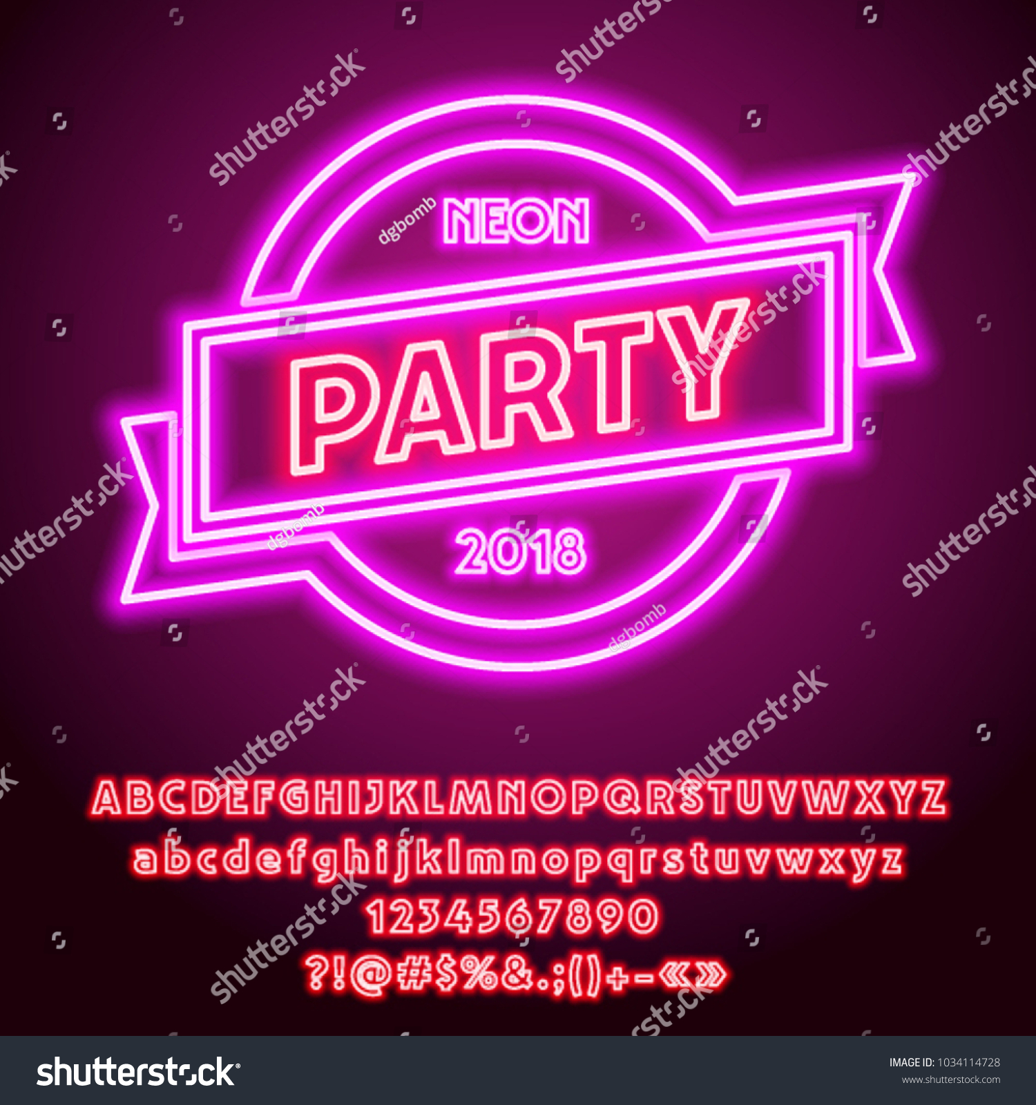 Vector pink neon glowing party sign stock vector 1034114728 vector pink neon glowing party sign set of cool led alphabet letters numbers and biocorpaavc Images