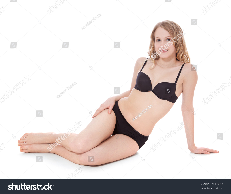 Attractive Girl Wearing Black Underwear All Stock Photo 103413455 ...