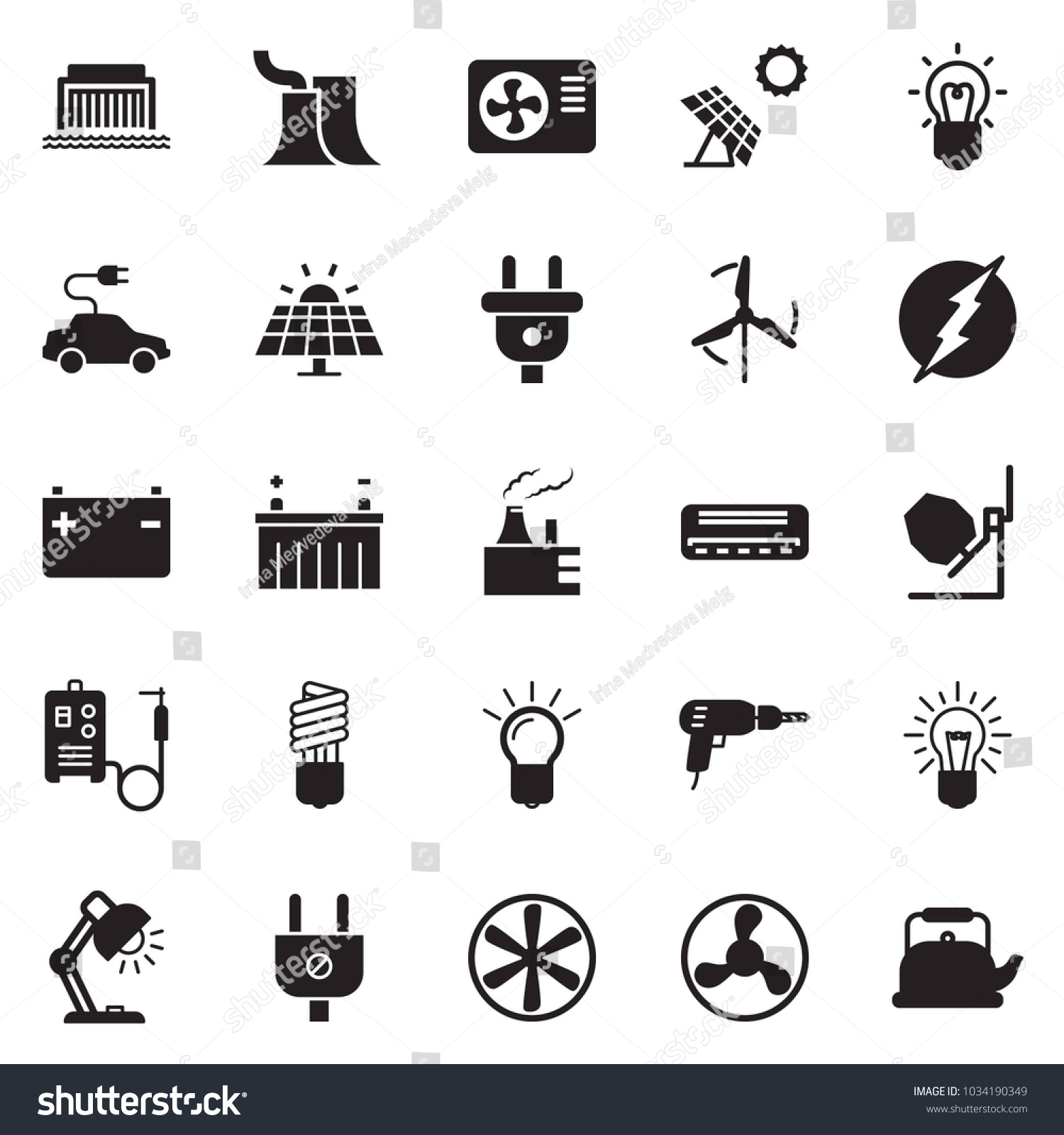 Solid Black Vector Icon Set Bulb Stock Royalty Free Circuit Panel Id Chart Kit Quickly And Table Lamp Drill Concrete Mixer