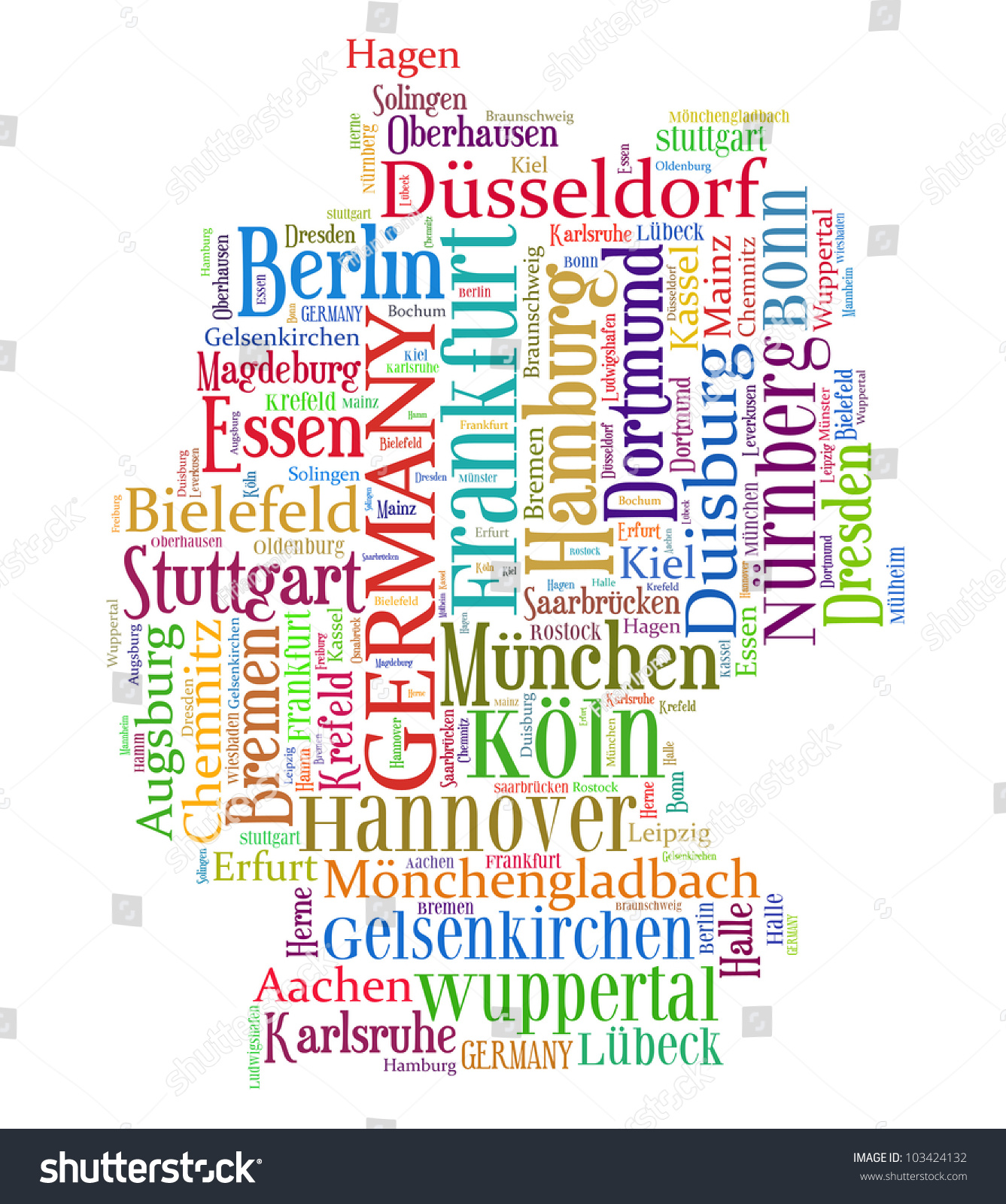 Germany Map Words Cloud Larger Cities Illustration 103424132 – Map of Germany Cities