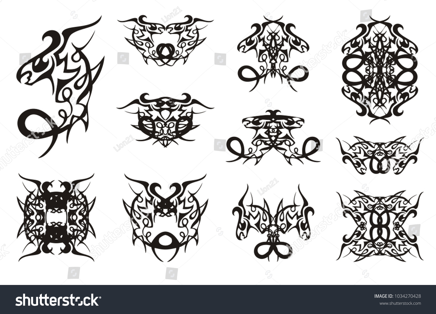 Freakish dragon symbols curls double symbols stock vector freakish dragon symbols with curls double symbols of the young coiling peaked dragon for your buycottarizona Gallery