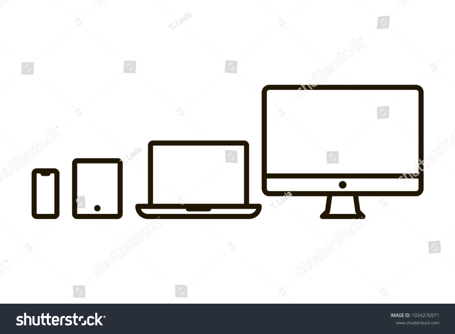 Set Outline Devices Icons Computer Monitor Stock Vector Royalty