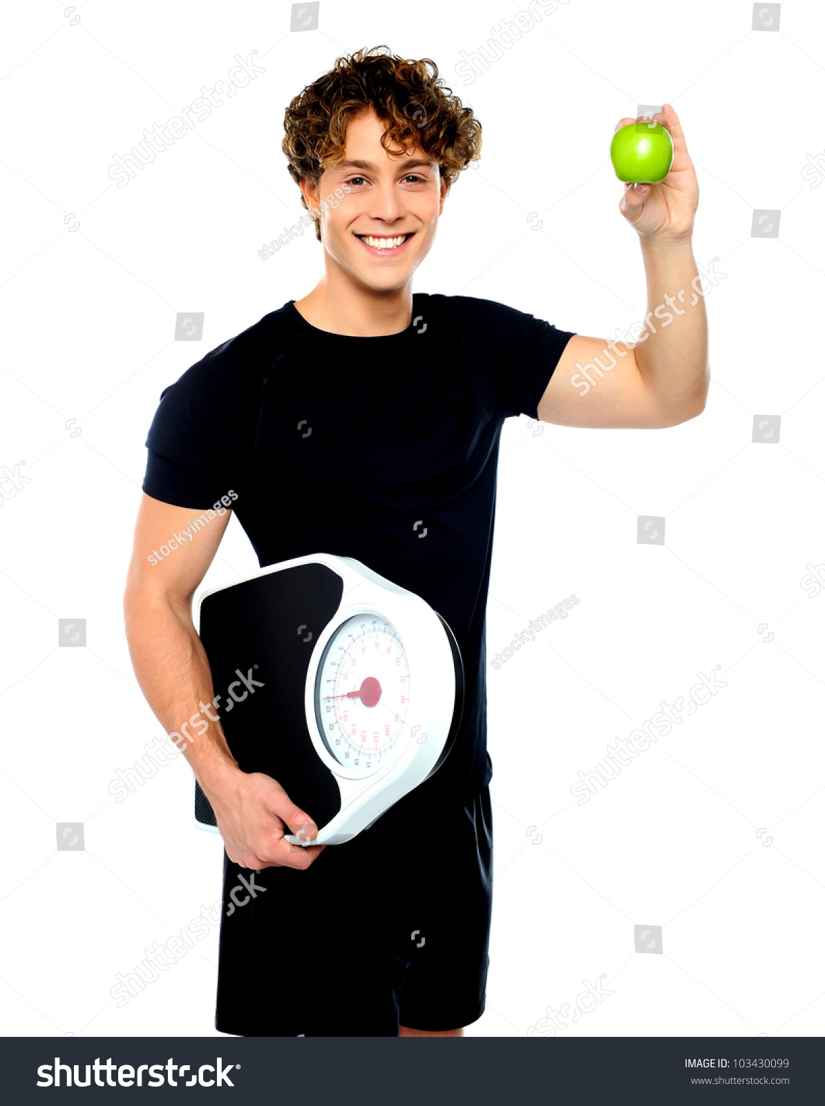 Background image scale to fit - Happy Fit Guy With Weighing Scale And Green Apple Isolated On White Background