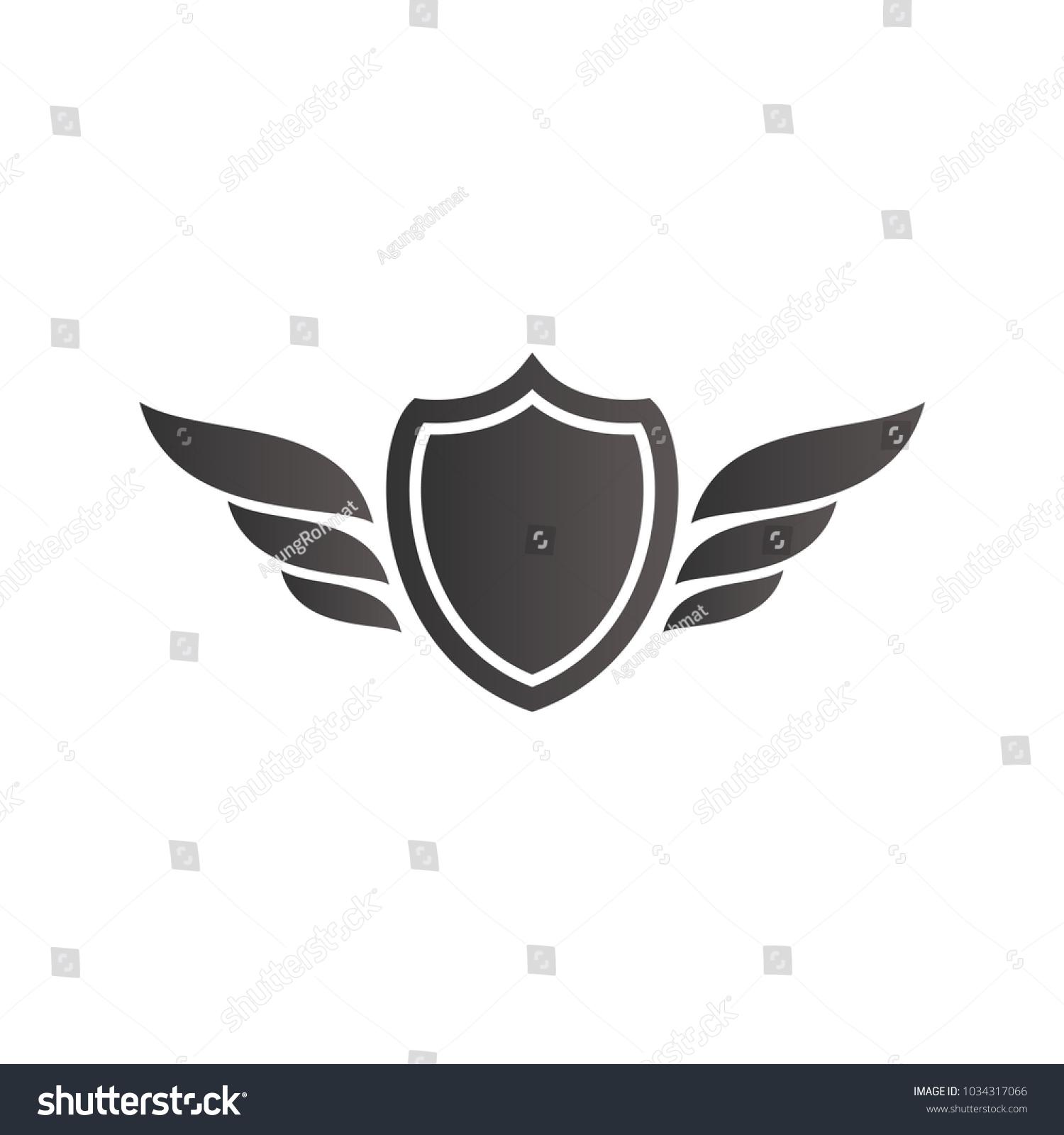 Shield Wing Logo Design Gradient Color Stock Vector Royalty Free