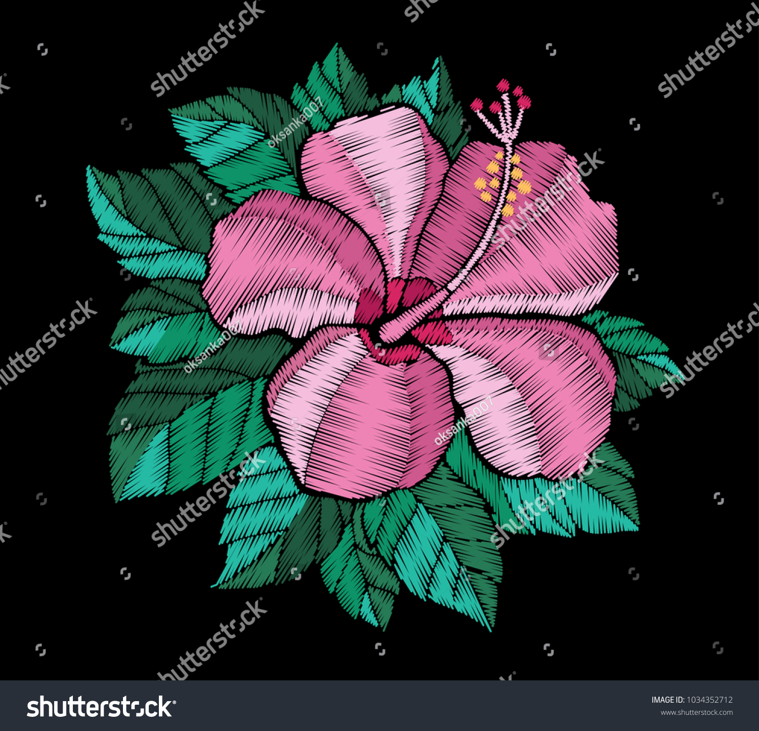 Embroidery Hibiscus Flower Craft Botanical Ethnic Stock Vector