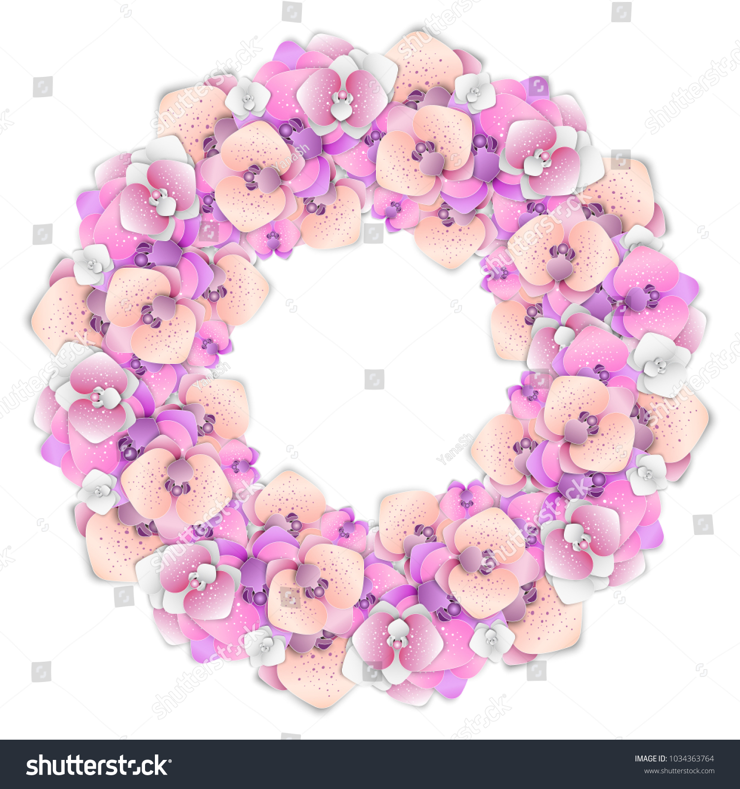 Wreath Flowers Paper Cutting Orchid Design Stock Vector Royalty