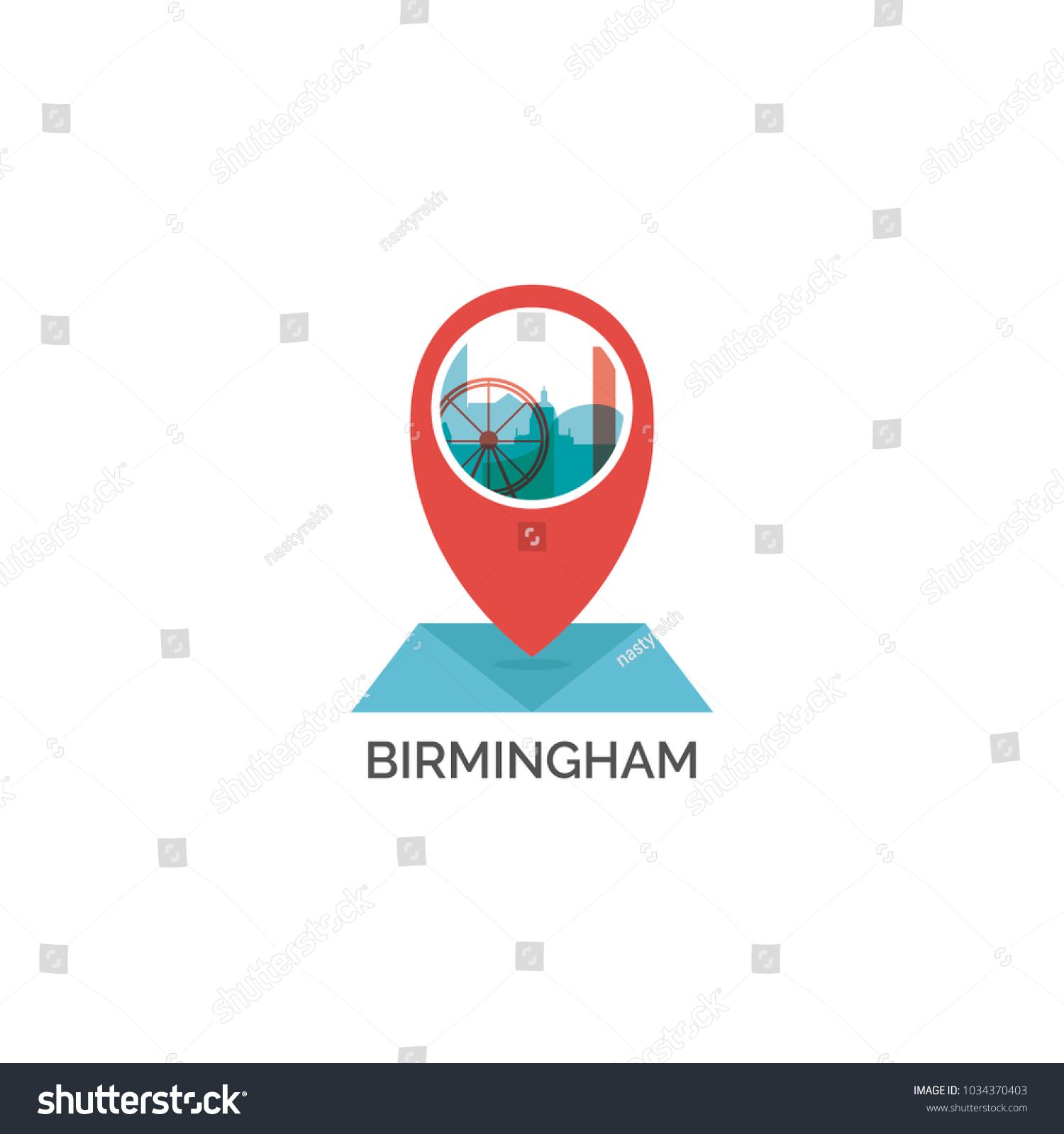 Britain England Map.Uk Great Britain England Birmingham Map Stock Vector Royalty Free