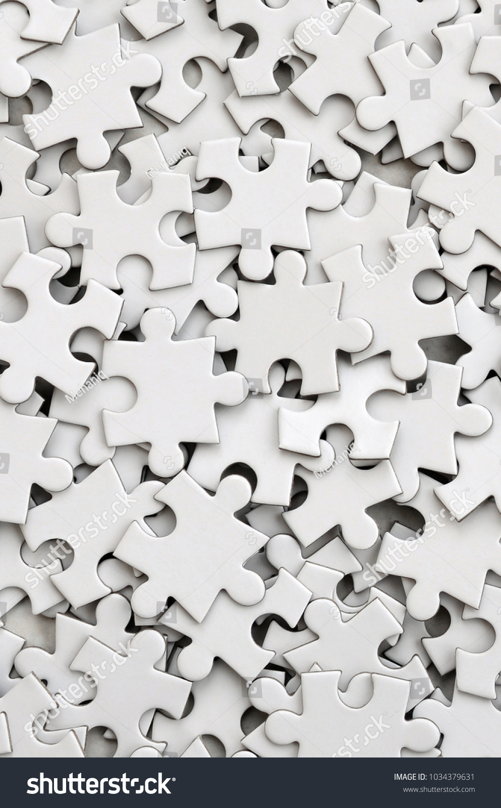 Selective focus of pieces white jigsaw puzzle, Business solution ...