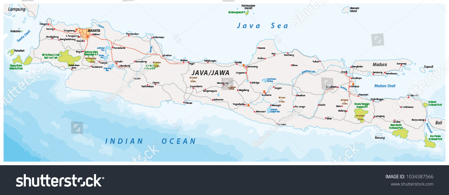 Vector road national park map indonesian stock vector 2018 vector road and national park map of the indonesian island java gumiabroncs Choice Image