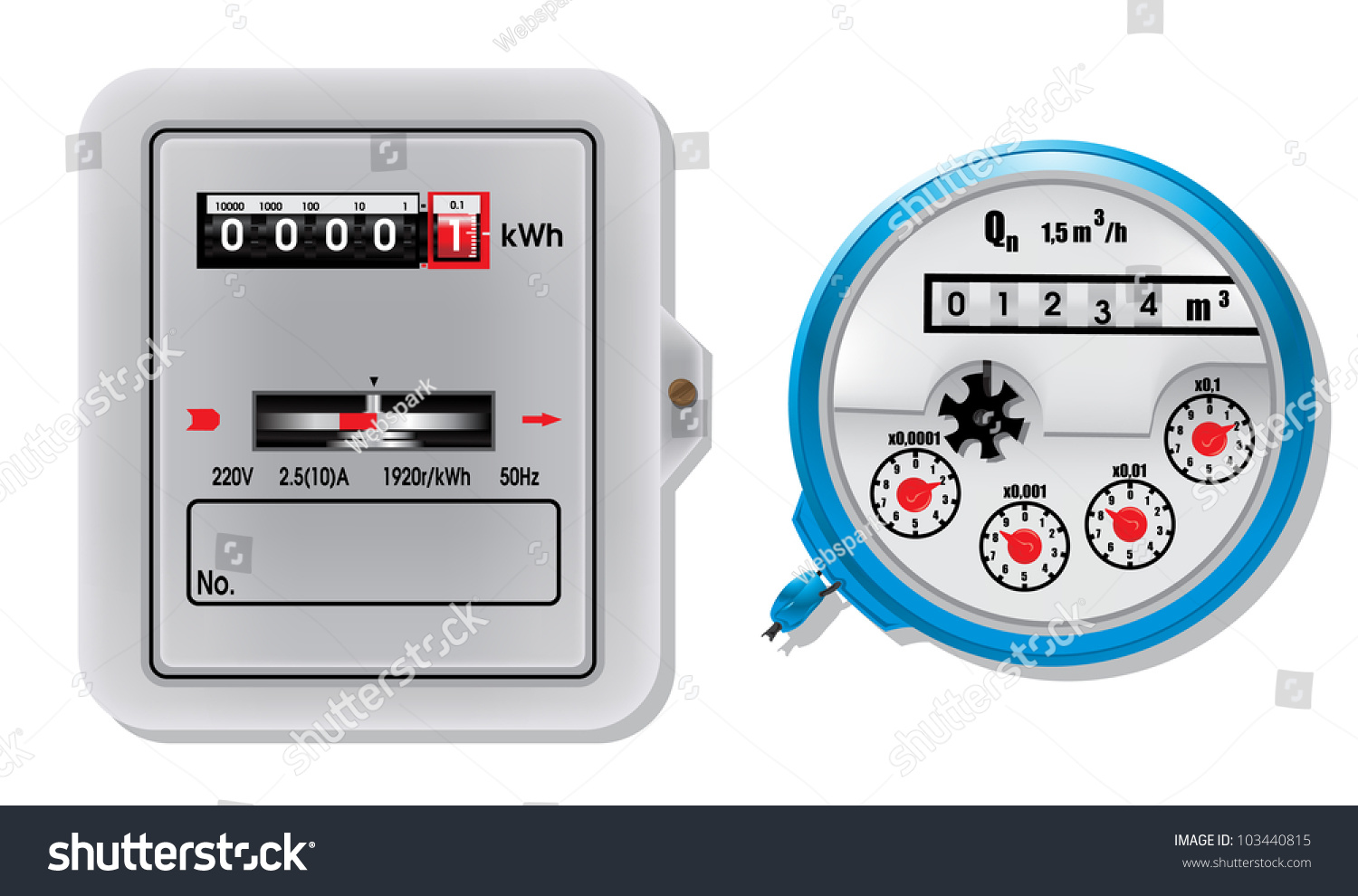Electric Power Detector : Electric meter water stock vector