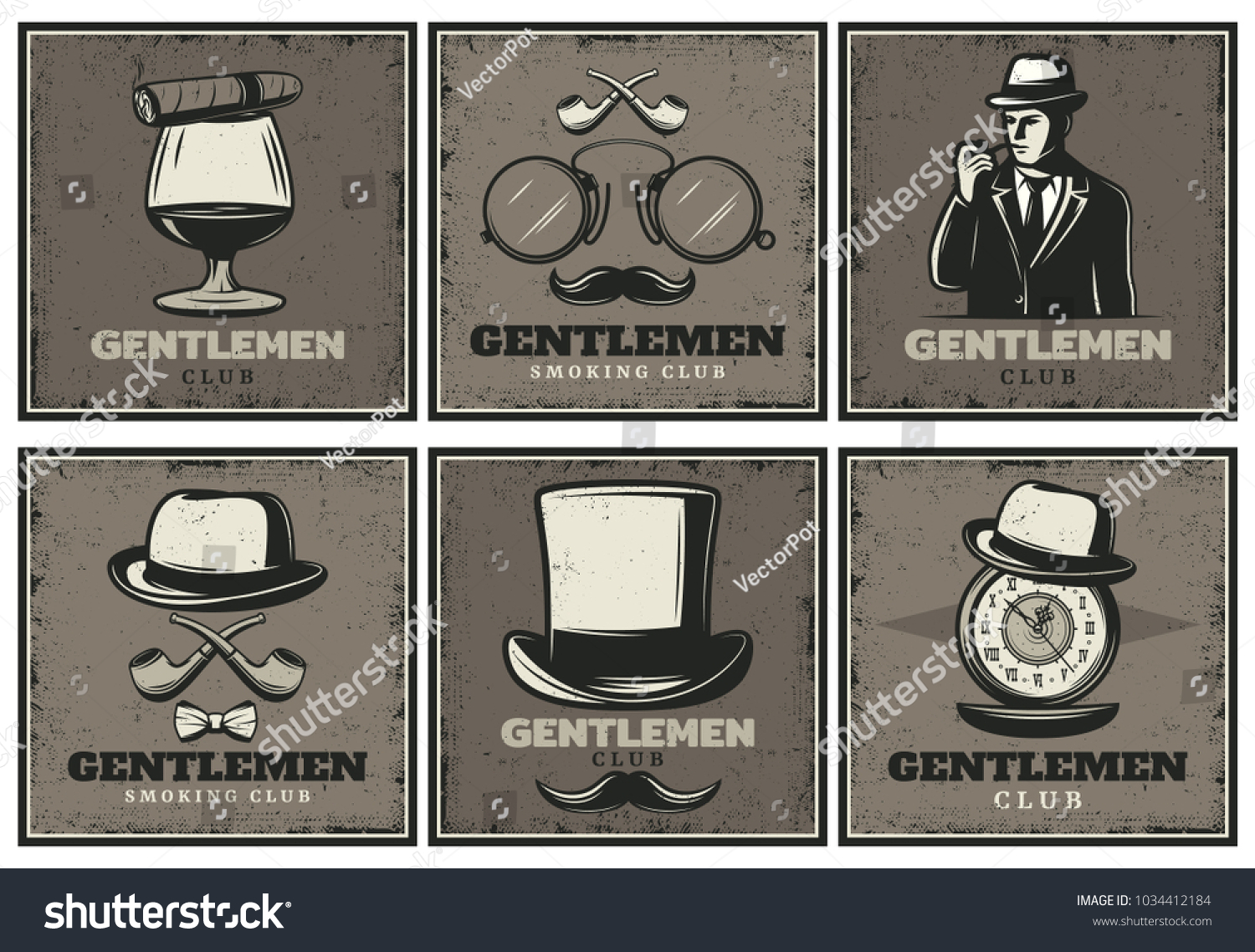 1f7eef341b5 Vintage gentleman club brochures with man whiskey cigar glasses smoking  pipe hats mustache clocks isolated vector