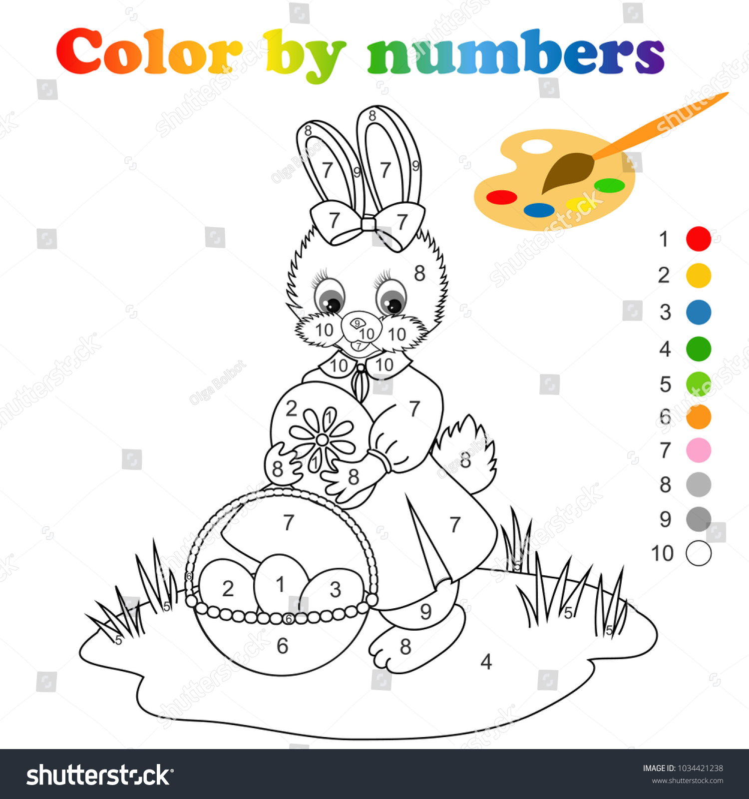 Coloring page with cute easter bunny coloring by numbers is educational children game drawing