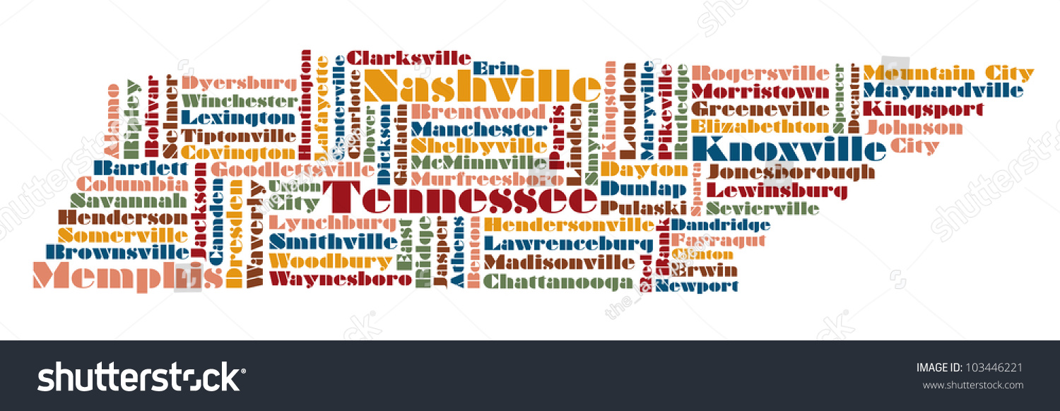 Word Cloud Map Of Tennessee State Usa