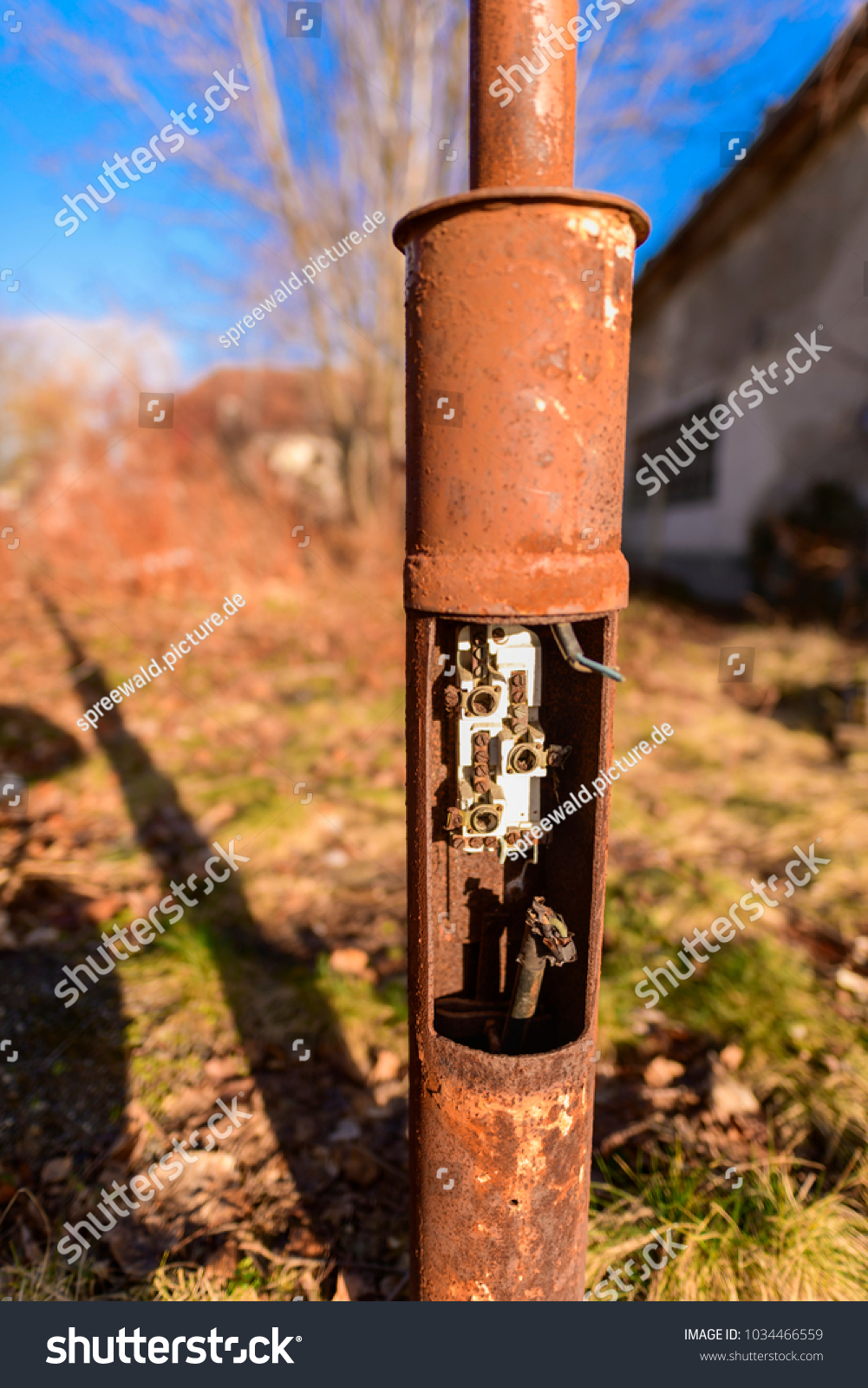 Detailed Picture Old Street Light Rusty Stock Photo Edit Now Open Fuse Box Of An And Weathered With