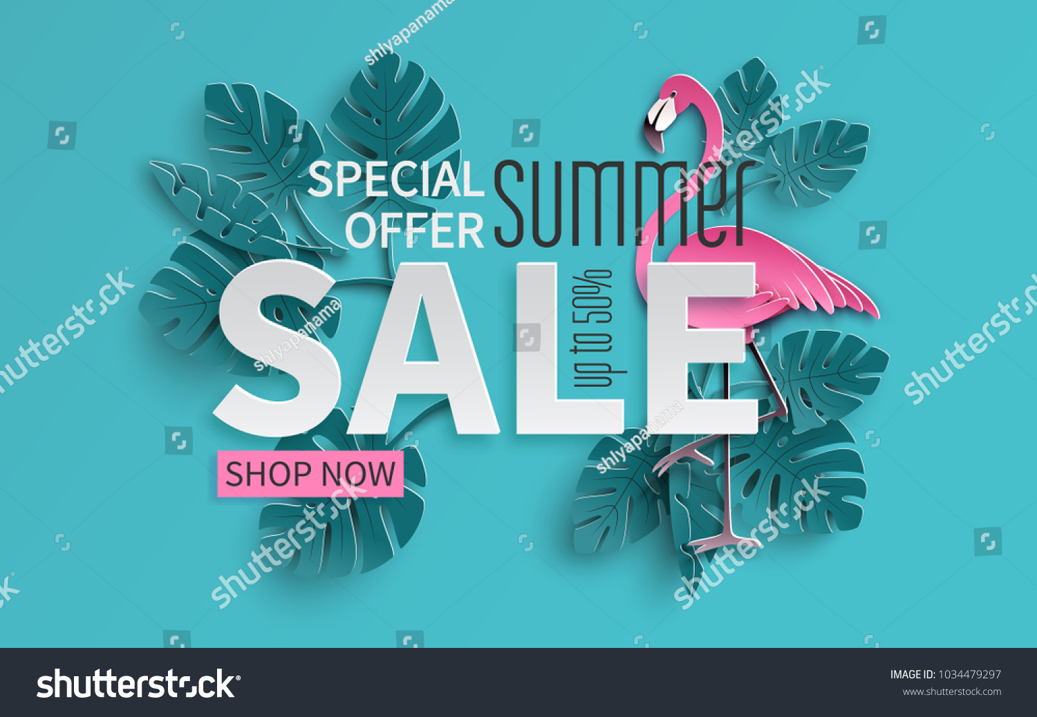 Summer sale banner with paper cut flamingo and tropical leaves background, exotic floral design for banner, flyer, invitation, poster, web site or greeting card. Paper cut style, vector illustration