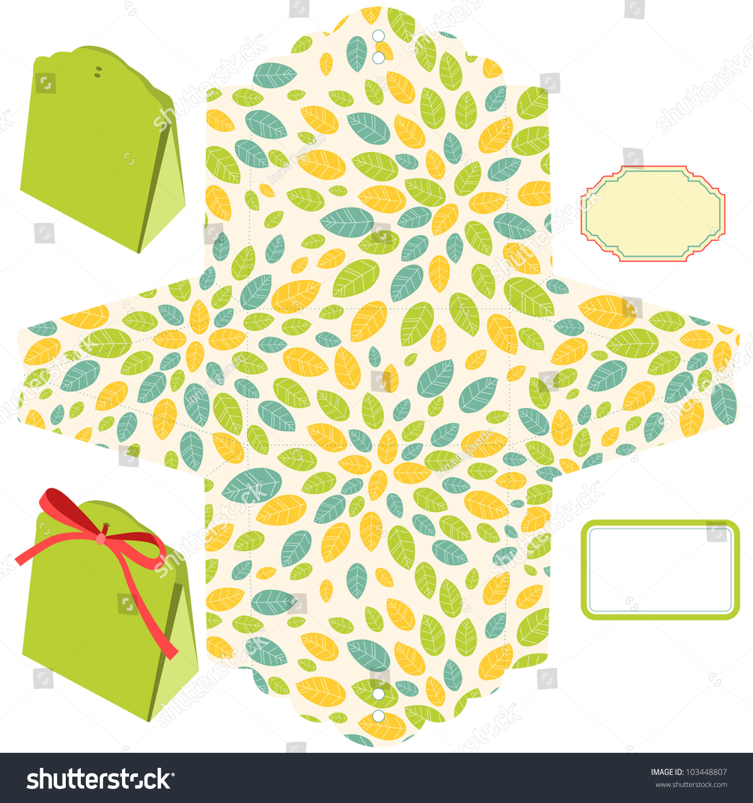 Box Template Leaf Pattern Blank Label Vector Illustration – Blank Label Template